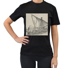 Ship 1515860 1280 Women s T Shirt (black) (two Sided)