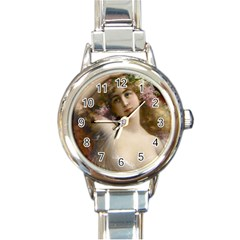 Victorian Lady In Pink Round Italian Charm Watch