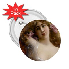 Victorian Lady In Pink 2 25  Buttons (10 Pack)