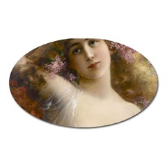 Victorian Lady In Pink Oval Magnet