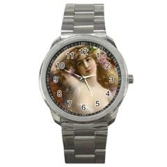 Victorian Lady In Pink Sport Metal Watch