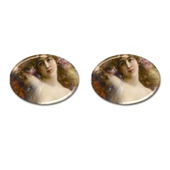 Victorian Lady In Pink Cufflinks (oval)