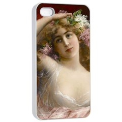 Victorian Lady In Pink Apple Iphone 4/4s Seamless Case (white)