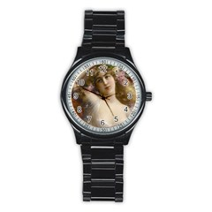 Victorian Lady In Pink Stainless Steel Round Watch