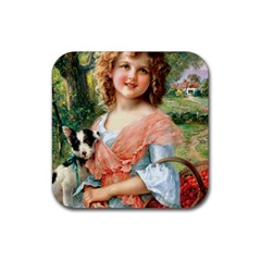 Girl With Dog Rubber Square Coaster (4 Pack)