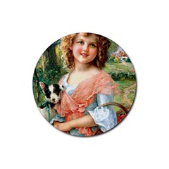 Girl With Dog Rubber Coaster (round)
