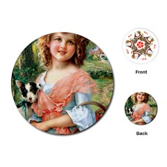 Girl With Dog Playing Cards (round)