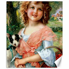 Girl With Dog Canvas 8  X 10