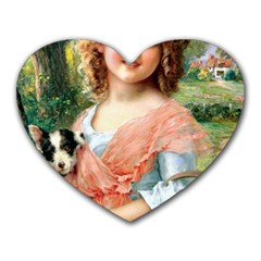 Girl With Dog Heart Mousepads