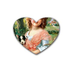 Girl With Dog Rubber Coaster (heart)