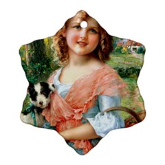 Girl With Dog Ornament (snowflake)