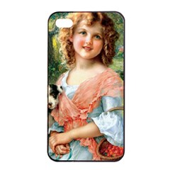Girl With Dog Apple Iphone 4/4s Seamless Case (black)