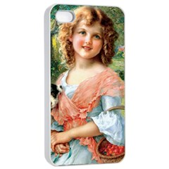 Girl With Dog Apple Iphone 4/4s Seamless Case (white)