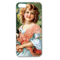 Girl With Dog Apple Seamless Iphone 5 Case (clear)