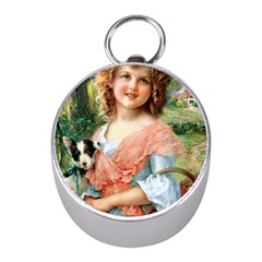 Girl With Dog Mini Silver Compasses