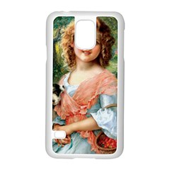 Girl With Dog Samsung Galaxy S5 Case (white)