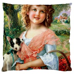 Girl With Dog Large Flano Cushion Case (two Sides)