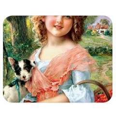 Girl With Dog Double Sided Flano Blanket (medium)