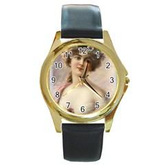 Vintage 1501573 1280 Round Gold Metal Watch