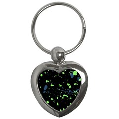 Dark Splatter Abstract Key Chains (heart)