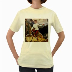 Woman On Bicycle Women s Yellow T Shirt