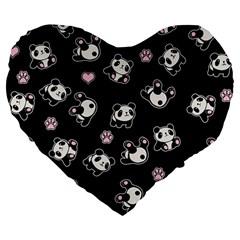 Panda Pattern Large 19  Premium Flano Heart Shape Cushions