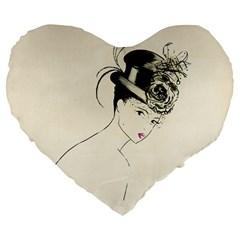 Vintage 2517507 1920 Large 19  Premium Flano Heart Shape Cushions
