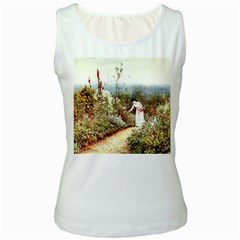 Lady And Scenery Women s White Tank Top