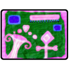 Hearts For The Pink Cross Double Sided Fleece Blanket (large)