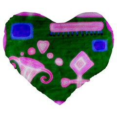 Hearts For The Pink Cross Large 19  Premium Flano Heart Shape Cushions