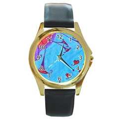 Hearts And Blue Round Gold Metal Watch