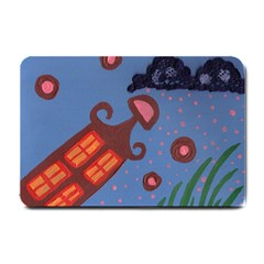 Pink Snow On Grass Small Doormat