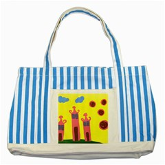 Three Houses Saying Ohhhh Striped Blue Tote Bag