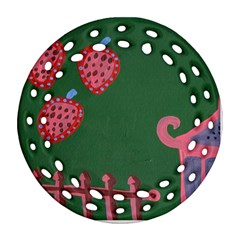 Floating Strawberries Round Filigree Ornament (two Sides)