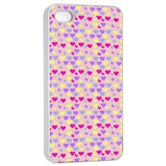 Hearts Butterflies Pink  Apple Iphone 4/4s Seamless Case (white)
