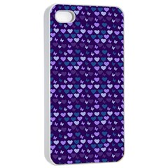 Hearts Butterflies Blue Apple Iphone 4/4s Seamless Case (white)
