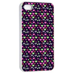 Hearts Butterflies Blue Pink Apple Iphone 4/4s Seamless Case (white)