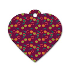Heart Cherries Magenta Dog Tag Heart (one Side)
