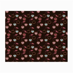 Heart Cherries Brown Small Glasses Cloth (2 Side)