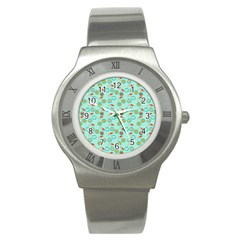 Light Teal Heart Cherries Stainless Steel Watch