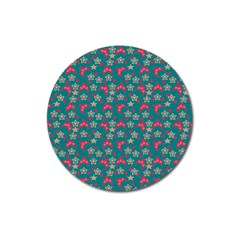 Teal Hats Magnet 3  (round)