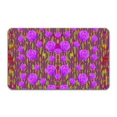 Roses Dancing On A Tulip Field Of Festive Colors Magnet (rectangular)