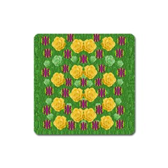 Roses Dancing On  Tulip Fields Forever Square Magnet
