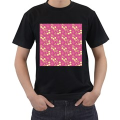 Yellow Pink Cherries Men s T Shirt (black)