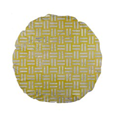 Woven1 White Marble & Yellow Watercolor Standard 15  Premium Flano Round Cushions