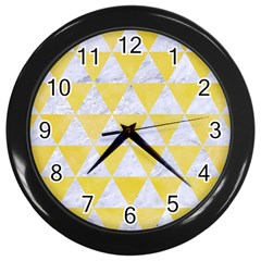 Triangle3 White Marble & Yellow Watercolor Wall Clocks (black)
