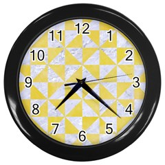 Triangle1 White Marble & Yellow Watercolor Wall Clocks (black)
