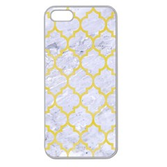 Tile1 White Marble & Yellow Watercolor (r) Apple Seamless Iphone 5 Case (clear)