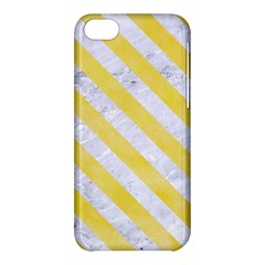 Stripes3 White Marble & Yellow Watercolor Apple Iphone 5c Hardshell Case