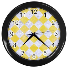 Square2 White Marble & Yellow Watercolor Wall Clocks (black)